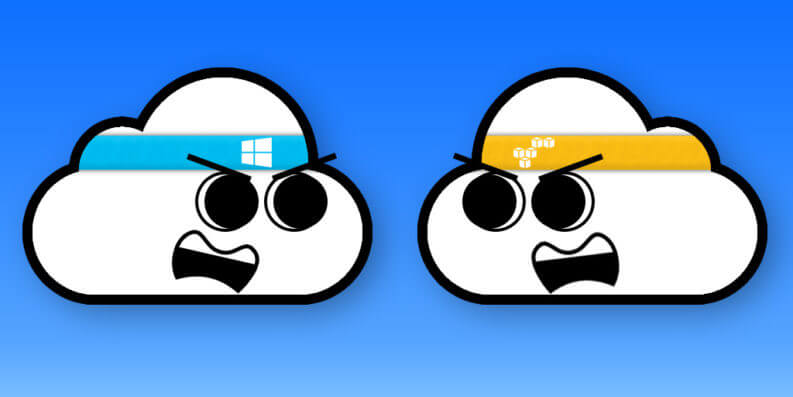 Amazon Web Services vs Microsoft Azure Cloud battle illustrated image